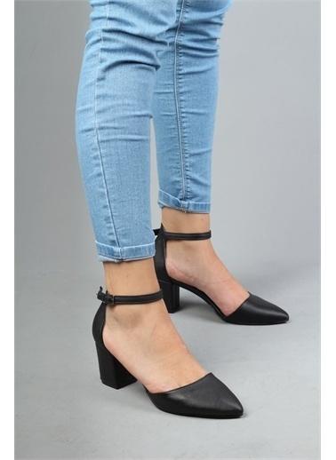 Modabuymus Modabuymus Bilek Bantlı Yanı Açık Kalın Topuklu  Süet Stiletto - Rebone Siyah